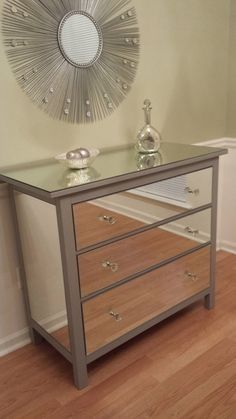 This Upcycled Mirrored Ikea Dresser has already sold; however, we can custom make one for you. This 3 drawer dresser was given a Hollywood glamor