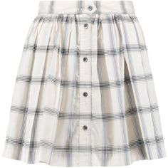 Maison Kitsuné Pleated checked cotton-poplin mini skirt ($84) ❤ liked on Polyvore featuring skirts, mini skirts, pleated miniskirt, checkerboard skirt, short mini skirts, pleated skirt and short skirts