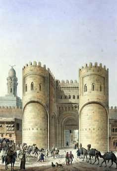 View of the Bab-el-Fotouh , Cairo 1818  by Pascal Xavier Coste - French, 1787-1879 باب الفتوح . القاهره 1818