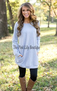 The Pink Lily Boutique - Oversized Pocket Sweater Heather Grey , $34.00 (http://thepinklilyboutique.com/oversized-pocket-sweater-heather-grey/)