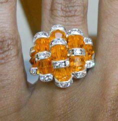 Swarovski sun crystal rhinestone spacer ring with free shipping