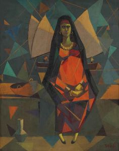 Seif Wanly (Egyptian, 1906–1979), Untitled , ca. 1950–1959, oil on panel,  58.5 x 46 cm. (23 x 18.1 in.)