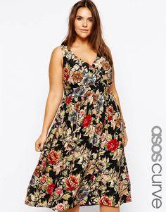 Asos Curve at Asos midi dress in tapestry print