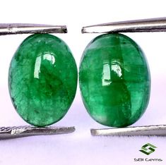 2.21 Cts Certified Natural Emerald Oval Cabochon Pair 8x6 mm Untreated Loose Gemstones Semi Precious Gemstones, Loose Gemstones, Natural Emerald