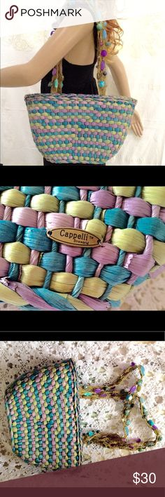 NWOT Cappelli Straworld Jeweled Shoulder Straps NWOT. Yellow, Turquoise, pink work straw jeweled shoulder straps with beads and snap closure with zipper inside  inside It has zipper pocket and 2 pockets. Beautiful summer bag created by Cappelli Straworld Cappelli Straworld Bags Shoulder Bags
