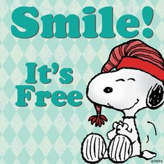 Snoopy smiles are free and it is often two for the price of one (i. smile at someone and they usually smile back! Snoopy Love, Snoopy And Charlie, Snoopy E Woodstock, Charlie Brown And Snoopy, Peanuts Cartoon, Peanuts Snoopy, Snoopy Cartoon, Happy Cartoon, Joe Cool