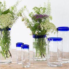 Glass vases with a blue top. Prices from DKK 7,70 / SEK 10,44 / NOK 9,98 / EUR 1,08 / ISK 216 #glassvase #glasvase #homedeco #boligindretning #vase #sostrenegrene #søstrenegrene
