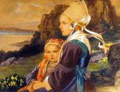 Elizabeth Sonrel Breton woman and daughter Dante Alighieri, Art Nouveau, Art Deco, Elisabeth I, Erte Art, Walled Garden, Academic Art, Postcard Art, Mystique