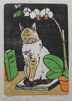 Edward Ryden (born in : Orchid, c. 2007 // Color woodcut, printed by artist on white wove Japanese hosho paper. I Love Cats, Crazy Cats, Cool Cats, Art And Illustration, Cat Illustrations, Gatos Cat, Photo Chat, Cat Drawing, Cat Art