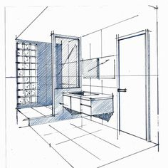 Pen/Pencil sketch of bathroom