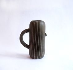 Hand thrown dark stoneware with white mishma decoration Approx. Tall This would go so well with your brand new Workaday Pin Stripe Cups Pop Bottles, How To Better Yourself, Stoneware, Ceramics, Mugs, Dark, Handmade, Nice Things, Decoration