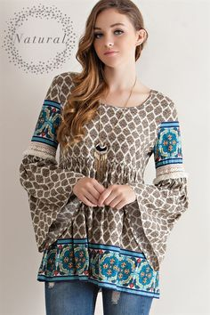 Border Print Peasant Blouse - Natural