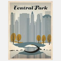 Designed in the fashion of U.S. travel advertisements of the early 1900s, this vintage-style print by Anderson Design Group uses bold colors and sharp lines to exude the personality of that grand travel era. In NYC Central Park Winter, a snow-covered common sits in front of the famous skyline.