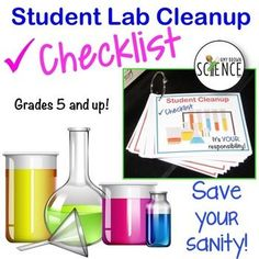 Lab Cleanup Task Cards. Tired of the mess that students leave behind as they leave the lab? Tired of that feeling of panic as you try to put order to the lab before the next class enters? Tired of having to do it all by yourself? These lab cleanup task cards may save your sanity!