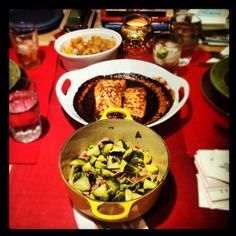 honey, ginger, and coriander glazed salmon + brussels sprouts with bacon + homemade potato gnocchi