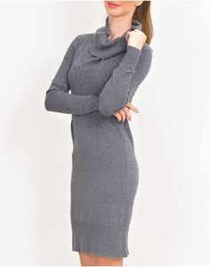 ΦΟΡΕΜΑ ΓΚΡΙ ΜΙΝΤΙ ΜΑΛΛΙΝΟ.. Fall Winter, High Neck Dress, Sweaters, Dresses, Fashion, Turtleneck Dress, Vestidos, Moda, Fashion Styles