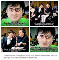 Harry Potter Facts - Daniel Radcliffe talking about his old stunt double, David Holmes.