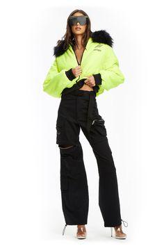 Black Cargo Pant Bootleg Design Adjustable Drawstring Cuff Zip pocket detailing Bruna wears a size XSHeight: Waist: Hip: Bodysuit Dress, Cargo Pants, Black Pants, Active Wear, Rain Jacket, Street Style, How To Wear, Jackets, Clothes