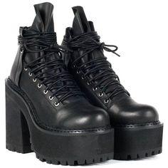 UNIF Thrash Boot ($138) ❤ liked on Polyvore featuring shoes, boots, lace up boots, lace front boots, platform shoes, back zip boots and chunky boots