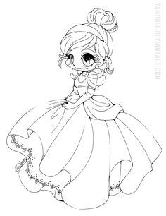 Cinderella Chibi Lineart by YamPuff