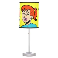 Giggles Comic Strip Table Lamp--#decor #decorating #lamps #ginger #redhead #comics #cartoons #popart #Zazzle