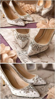 Elegant white lace and crystal wedding shoes / http://www.deerpearlflowers.com/vintage-lace-wedding-shoes/