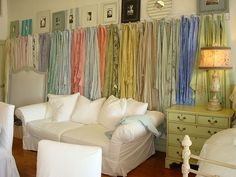 If you have a large bedroom, what a beautiful way to enhance a wall!  I can see this also used as a headboard!