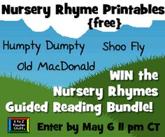Download {FREE} Printable Nursery Rhyme Activities and Enter to win the Nursery Rhymes to Go giveaway by May 6 @ 11 pm CT.  http://atoztea.ch/IWsD6v