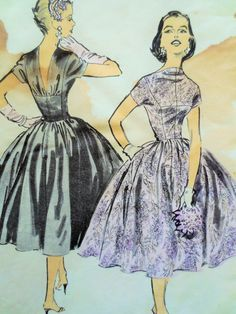 Vintage Advance 7914, 1950s Dress Pattern, Anne Fogarty Design, Party Dress, Bust 36, 1950s Prom Dress, Full Skirt, 1950s Sewing Pattern