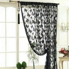 String Curtains, Tassel Curtains, Net Curtains, Black Curtains, Home Curtains, Curtain Hanging, Kitchen Curtains, Curtain For Door Window, Curtain Room