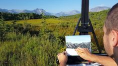 This was my first time plein air painting. It was a lot of fun and a great way to get out and enjoy nature. I was painting just outside of Waterton Lakes Nat. Waterton Lakes National Park, National Parks, Artist At Work, Art Blog, Painting Inspiration, New Art, Landscape Paintings, Vibrant Colors, Watch