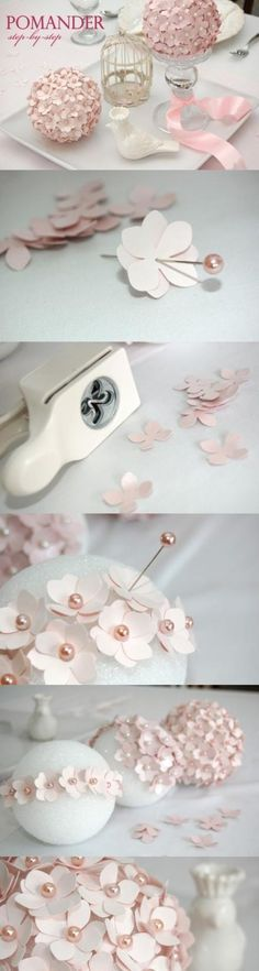 Craft paper, puncher, pins, foam ball = romantic decor