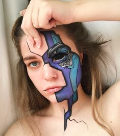 Face Paint Makeup, Eye Makeup Art, Sfx Makeup, Cool Makeup Looks, Crazy Makeup, Robot Makeup, Amazing Halloween Makeup, Photographie Portrait Inspiration, Character Makeup