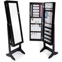 TecTake Espejo joyero espejo guarda joyas organizador espejo de pie pendientes - disponible en diferentes colores - (Negro): Amazon.es: Hogar