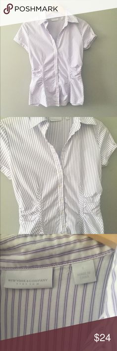 """NY & Co short sleeve button down NY & Co short sleeve button down white with purple thin stripes. Perfect office summertime staple. In excellent condition, size small 18"""" underarm to underarm and 24"""" length. New York & Company Tops Button Down Shirts"""