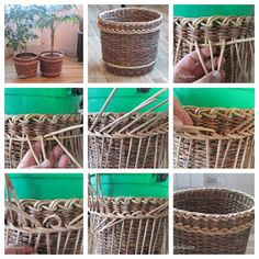 wicker paper DIY Diy Paper, Paper Crafts, Recycle Paper, Willow Weaving, Knit Basket, Paper Basket, Recycled Crafts, Wicker, Origami