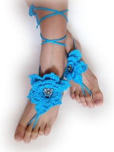 Wedding Foot Jewelry.Crochet Barefoot Sandals.Turquoise flowers. Set of 2.