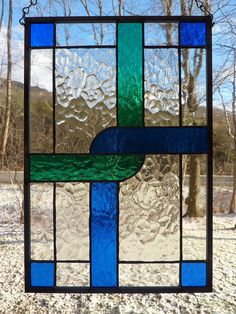Stained Glass Panel Crossing Paths by WildwindsGlass on Etsy, $66.00