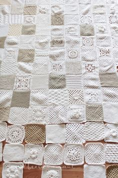 So pretty. Shades of Cream, Grey and White. NO tut. Inspiration - Sampler afghan (some squares are knitted)