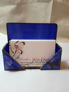 Stained glass business card holder by sherrycarrigan on etsy 2300 sale blue stained glass business card holder card holder business card butterfly reheart Images