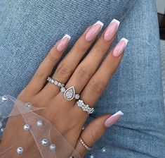 French Nails, French Tip Acrylic Nails, French Manicure Nails, Best Acrylic Nails, Acrylic Nail Designs, Nail Art Designs, Gel Nails, Glitter Nails, Design Art