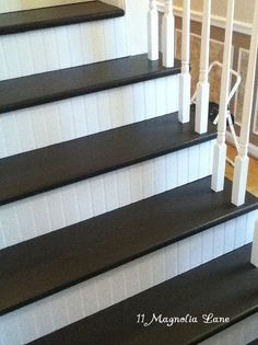 Charming Stair Redo With Painted Treads And Beadboard Risers
