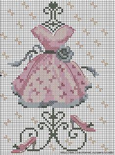 Pembe Kreasyon: Çarpı İşi Şablonları 1-Elbise