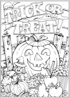 From: Creative Haven Autumn Scenes Coloring Book Dover Publications Coloriage Halloween Imprimer Coloriage Halloween Imprimer Halloween Coloring Pages Printable, Free Halloween Coloring Pages, Pumpkin Coloring Pages, Fall Coloring Pages, Coloring Pages For Kids, Coloring Books, Fall Coloring Pictures, Christmas Colouring Pages, Fall Coloring Sheets