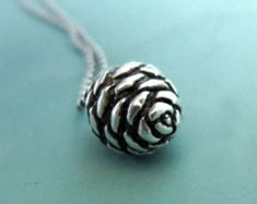 Pine Cone Necklace in Sterling Silver, Small Fir, Holiday Gift, Outdoors Gift, Free Shipping