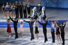 The Canadian figure skating team celebrates before the podium ceremony at the Sochi 2014 Winter Olympics