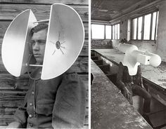 Left, photograph of an acoustic listening device developed for the Dutch army as part of air defense systems research between World Wars I and II. Via. More. Right, Walter Pichler, TV Helmet /Portable Living Room, 1957. Via. – We live in a society exquisitely dependent on science and technology, in  which hardly anyone knows anything about science and technology. Carl Sagan. Via.