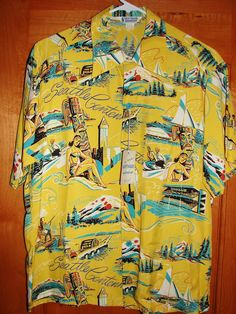Driftwood - 50s Seattle Rayon Vintage Hawaiian Shirt - TheHanaShirtCo I have this fabric in blue.