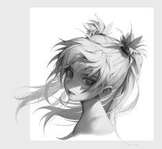 Sketch Hair ArtStation - hair drawing, Charles C - Digital Art Tutorial, Digital Painting Tutorials, Art Tutorials, Realistic Drawings, Cool Drawings, How To Draw Hair, Copics, Manga Art, Line Art