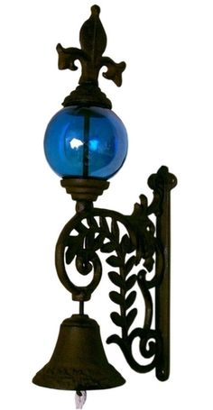 Cast Iron Bell with BLUE Glass Gazing Ball - Real brilliant blue glass gazing ball is so beautiful against the rust color of the cast iron bell. Measures x 7 Be; measures x Metal Garden Wall Art, Cast Iron, It Cast, Old World Style, Iron Decor, Iron Wall, Glass Ball, Metal Walls, The Ordinary